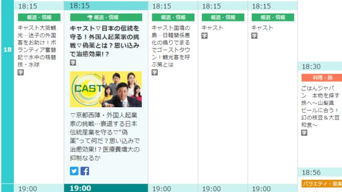 朝日放送テレビ「キャスト」番組欄
